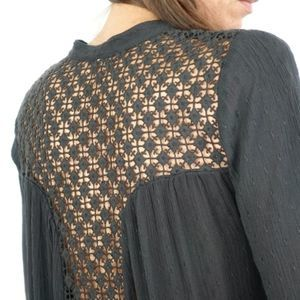 Free People The Best Crochet Lace Inset Shirt XS